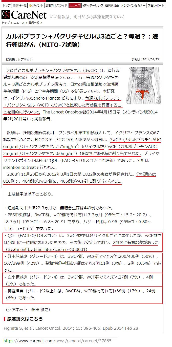 カルボプラチン+パクリタキセルは3週ごと?毎週?:進行卵巣がん(MITO-7試験)2.png